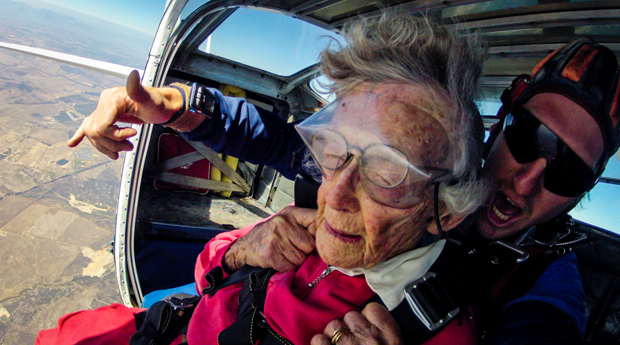 100 Year-old Gran Skydives for her Birthday