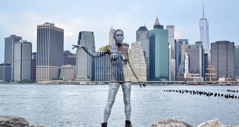 With the female body as her canvas this artist blends into for Famous cities in new york